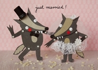 "Sandra-Monat-Postkarte  ""just married! -1"""